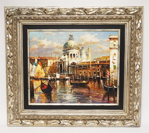 CONTEMPORARY OIL PAINTING ON CANVAS OF A VENETIAN CANAL SCENE WITH GONDOLAS AND