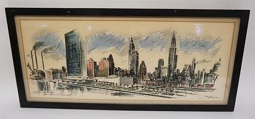 JOHN HAYMSON PRINT TITLED *THE UNITED NATIONS - EAST RIVER NEW YORK CITY*. 30 X