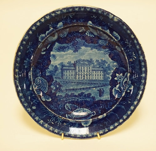 WOOD & SONS HISTORIC BLUE TRANSFERWARE DECORATED PLATE HAVING THE *MARINE HOSPIT