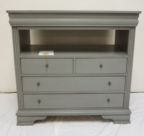 NEW FURNITURE LIQUIDATION VAUGHN-BASSETT GRAY PAINTED 4 DRAWER CHEST WITH OPEN A