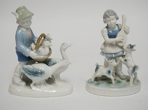 LOT OF 2 GEROLD PORCELAIN FIGURES INCLUDING A BOY W/GEESE AND A GIRL WITH A MAND