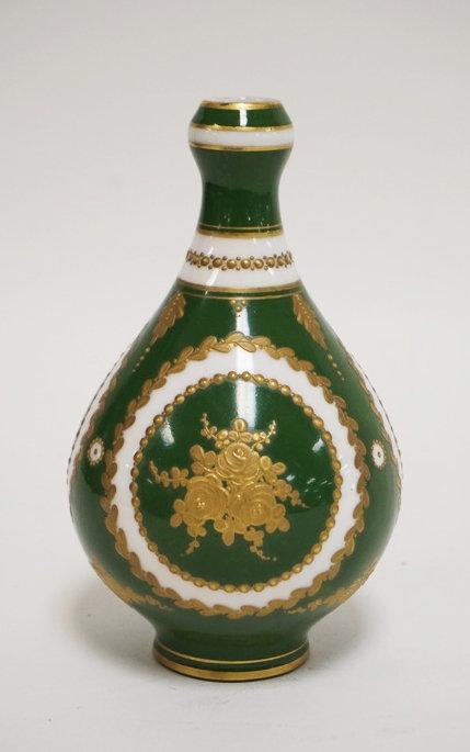 SEVRES PORCELAIN VASE IN GREEN & WHITE WITH GOLD ENAMELED D�COR. 5 1/8 INCHES HI
