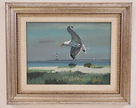 STANLEY M. ZUCKERBERG (1919-1995) OIL PAINTING ON BOARD OF A FLYING SEAGULL OVER