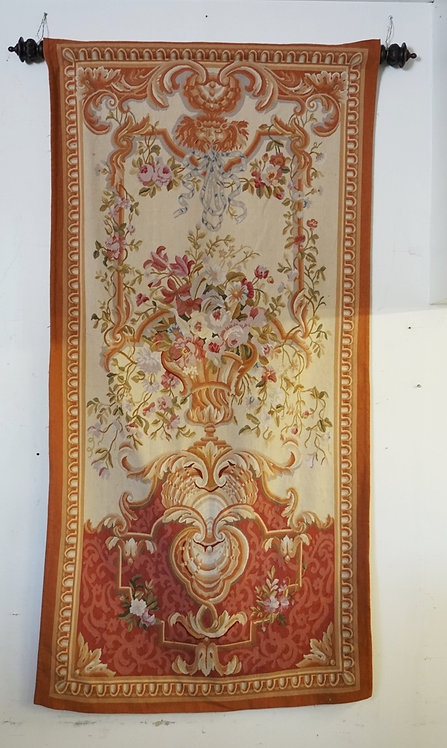 LARGE TAPESTRY FEATURING A FLOWERING URN AND FOLIATE DESIGNS. 7 FT 9 X 4 FT.