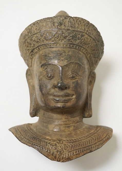 ASIAN BRONZE BUST OF A MAN WITH ELONGATED EARLOBES. 8 3/4 INCHES HIGH.