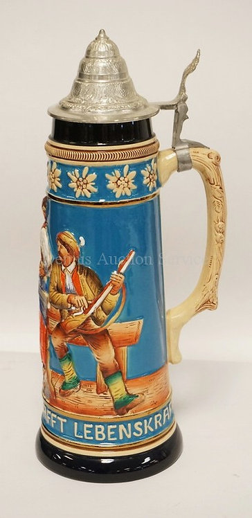 LARGE WEST GERMAN STEIN MEASURING 15 3/4 INCHES HIGH.
