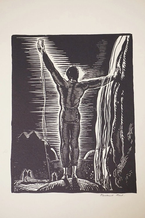 ROCKWELL KENT *TO GOD*. PENCIL SIGNED ON FLOWER WATERMARKED JAPAN PAPER. 5 1/2 X