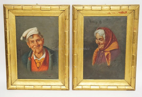 PAIR OF OIL PAINTINGS ON CANVAS. ONE OF A GENTLEMAN SMOKING A PIPE AND THE OTHER