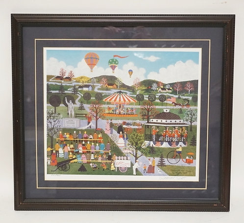 WOOSTER SCOTT PENCIL SIGNED PRINT OF A COUNTRY FAIR. EDITION #241/925. 19 3/4 X
