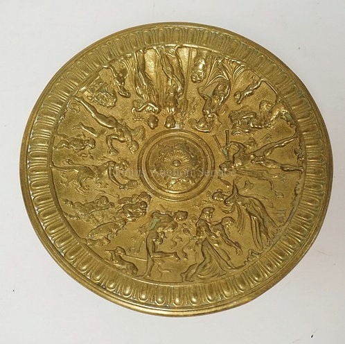 GERMAN BRONZE TAZZA WITH RELIEF DECORATION OF CLASSICAL FIGURES SANCING, PLAYING