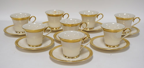 8 LENOX *ARISTOCRAT* CUP AND SAUCER SETS.
