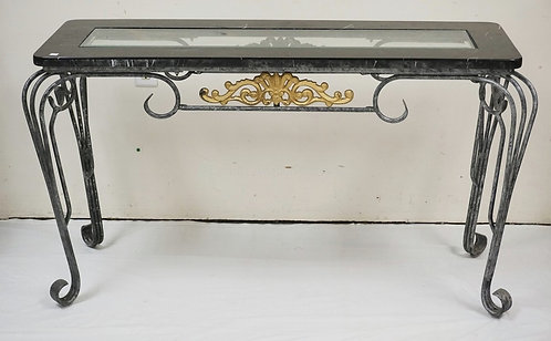 WROUGHT METAL CONSOLE TABLE WITH A TESSELLATED MARBLE TOP HAVING AN INSET BEVELE