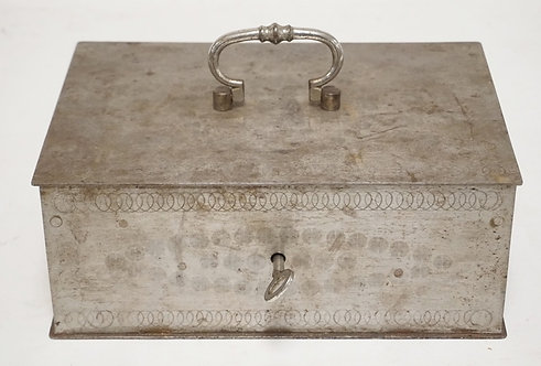ANTIQUE STEEL CASH BOX WITH KEY. ENGINE TURNED DESIGNS. 10 X 7 AND 4 INCHES HIGH