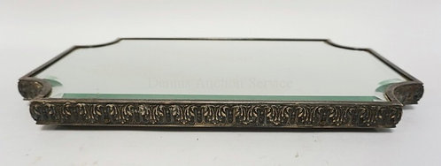 FRENCH STERLING SILVER MIRRORED PLATEAU HAVING AN ORNATELY PATTERNED BORDER. BEV