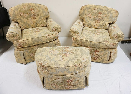 PAIR DREXEL HERITAGE LOUNGE CHAIRS WITH OTTOMAN. 38 1/2 INCHES WIDE. 36 INCHES H
