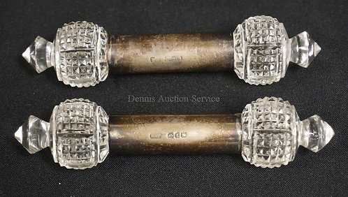 PAIR OF ANTIQUE CUT CRYSTAL KNIFE RESTS WITH STERLING SILVER COLLARS. LONDON HAL