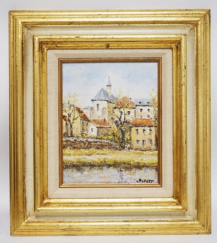 OIL PAINTING ON CANVAS OF A CONTINENTAL TOWN SCENE. SIGNED LOWER RIGHT. 7 1/4 X