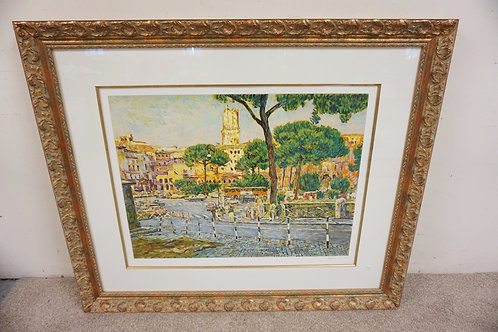 EUGENE KASPIN PRINT TITLED *ROMAN PINES*. PENCIL SIGNED. 41 1.2 X 49 INCH FRAME.