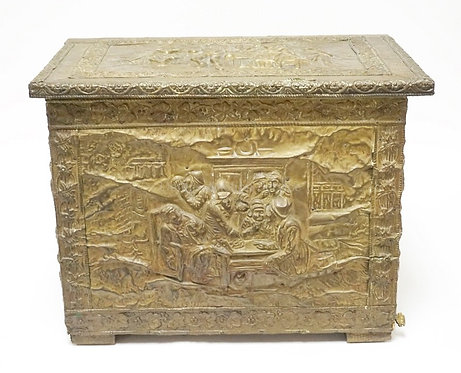 BRASS COVERED KINDLING BOX WITH RELIEF SCENES OF PEOPLE IN A TAVERN. 19 3/4 INCH
