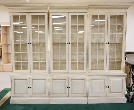 ETHAN ALLEN 3 SECTION CABINETS WITH BLIND DOOR BASES AND GLASS PANE DOORS WITH G