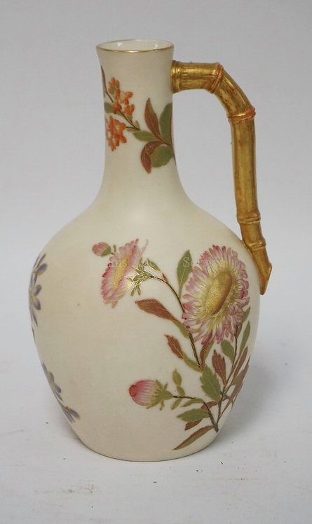 ROYAL WORCESTER JUG WITH 3 DIFFERENT HAND PAINTED FLOWERS. 8 IN H