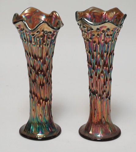 PAIR OF AMETHYST CARNIVAL GLASS VASES. 10 INCHES HIGH.
