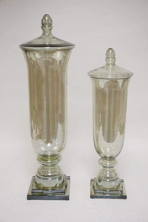 PAIR OF LARGE GLASS JARS WITH LIDS. TALLEST IS 25 1/2 INCHES.