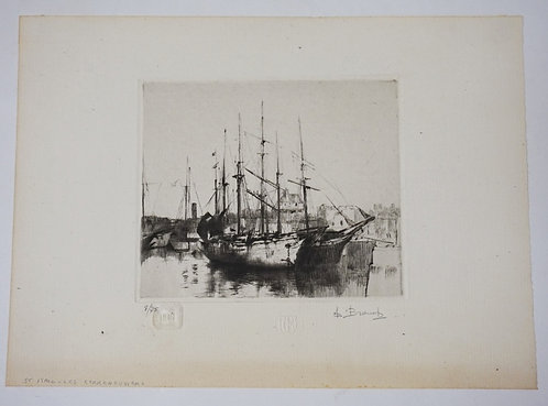 AUGUSTE BROUETALIM ED ETCHING OF A BOAT *ST ITALO-LESCERRENEUVIERS*  #8 OF 75, 1