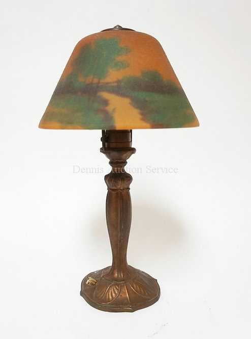 BOUDOIR LAMP WITH REVERSE PAINTED SCENIC SHADE. EXTERIOR OF THE SHADE IS TEXTURE