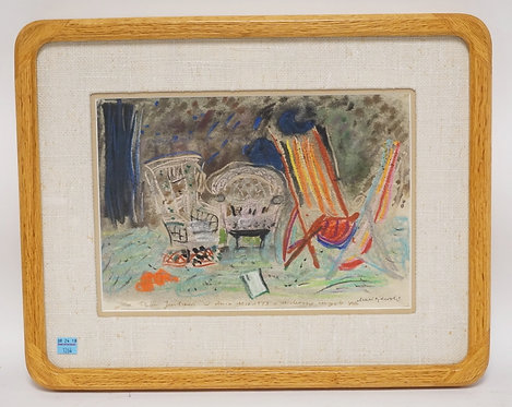 SIGNED LITHO CONSISTING OF WICKER AND A LOUNGE CHAIR. 12 X 8 1/4 INCH SIGHT SIZE