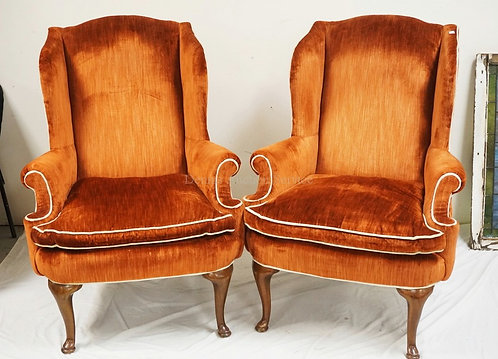 PAIR OF WING CHAIRS.