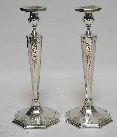 PAIR OF STERLING SILVER CANDLESTICKS MEASURING 12 1/2 INCHES HIGH. 21.50 TROY OZ
