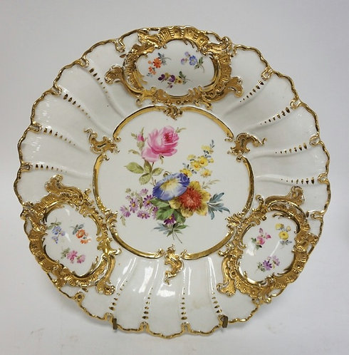 HAND PAINTED MEISSEN BOWL WITH FLOWERS AND ELABORATE GOLD TRIM. 11 1/2 IN. NO SC