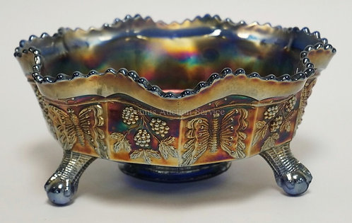 BLUE CARNIVAL BUTTERFLY AND BERRY MASTER BERRY BOWL. 9 IN. FENTON
