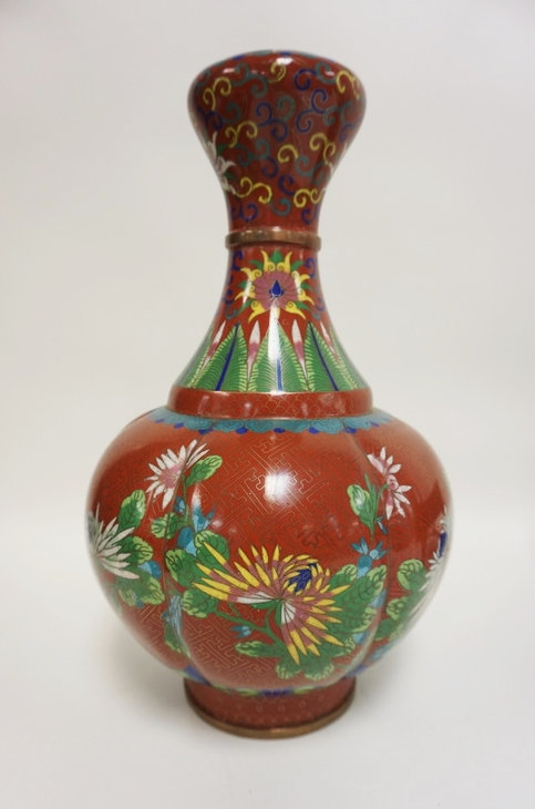 LARGE RUSTY RED CLOISONNE VASE WITH FLOWER AND LEAF DECORATION. 13 1/4 IN H