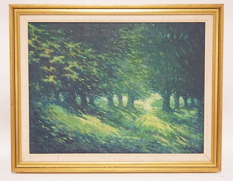 OIL PAINTING ON CANVAS OF A TREE LINED PATH. SIGNED *INDIA* LOWER RIGHT. 23 1/2