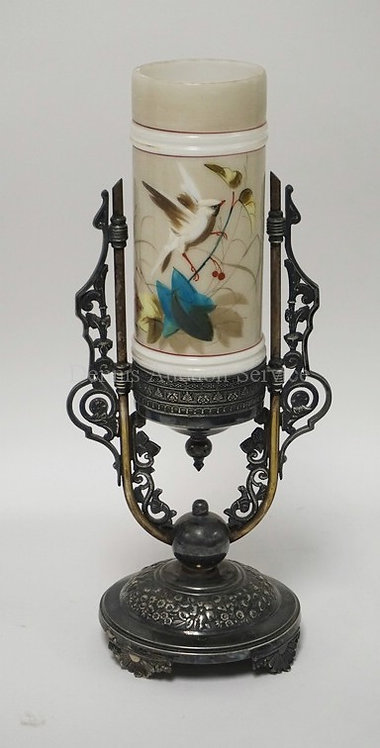VICTORIAN MOUNT WASHINGTON HAND PAINTED CYLIDER VASE WITH A SILVER PLATED BASE.