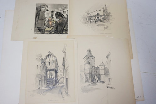 GROUP OF 4 PENCIL DRAWINGS BY RENE BRUGNONI. LARGEST IMAGE IS APPROX 6 1/2 X 9 1