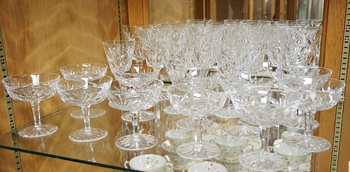23 PIECE WATERFORD CUT CRYSTAL STEMWARE. NINE 6 7/8 INCH GOBLETS, THREE 5 3/4 IN