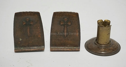 3 SIGNED PIECES OF ROYCROFT HAND HAMMERED ARTS AND CRAFTS PERIOD COPPER. A PAIR