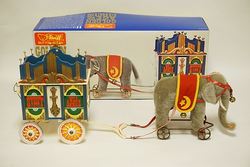 STEIFF *GOLDEN AGE OF THE CIRCUS* ELEPHANT WITH WAGON. IN THE ORIGINAL BOX. APPR