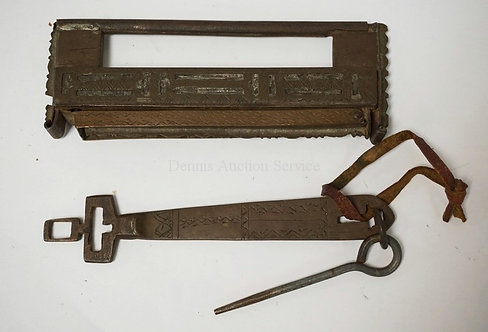 MIDDLE EASTERN BRONZE LOCK WITH KEY & ROD. 6 1/4 INCHES LONG.