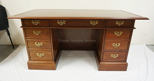 MAHOGANY LEATHER TOP DESK BY SLIGH. 60 X 30 INCH TOP.