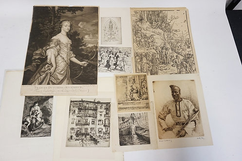 GROUPING OF 9 ANTIQUE ETCHINGS & PRINTS. INCLUDES ALBRECHT DURER, REMBRANDT *THE