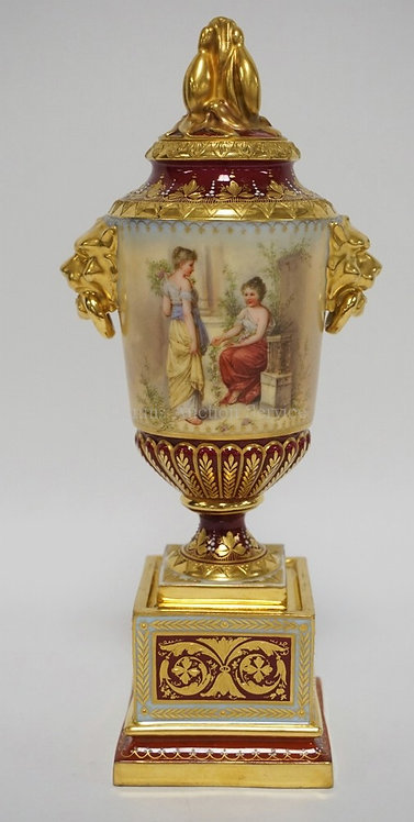 EXCEPTIONAL HAND PAINTED PORCELAIN BOLTED URN WITH LID. BLUE CROSSED SWORDS MARK
