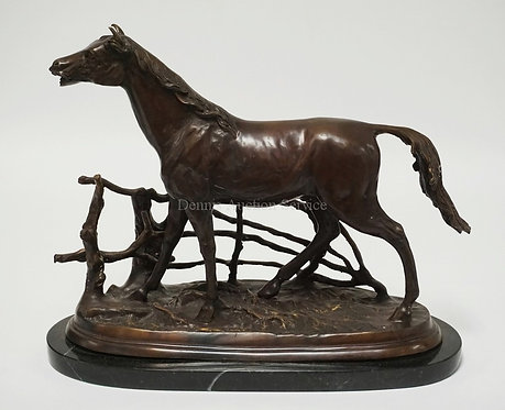 P.J. MENE BRONZE SCULPTURE OF A HORSE. MOUNTED ON A MARBLE BASE. 12 1/2 INCHES H