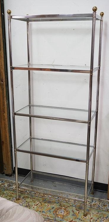 CHROME 5 TIER SHELF UNIT WITH GLASS SHELVES.