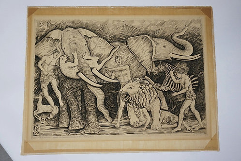 JOSEPH HECHT (1891-1951). ETCHING OF MEN AND ANIMALS FIGHTING INCLUDING ELEPHANT