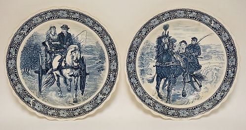 PAIR OF BLUE & WHITE PORCELAIN CHARGERS. ONE WITH A HORSE AND BUGGY SCENE, THE O