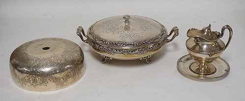 3 SILVER PLATED ITEMS. AN ENGLISH FOOD COVER, A SYRUP JUG WITH MATCHING UNDERPLA